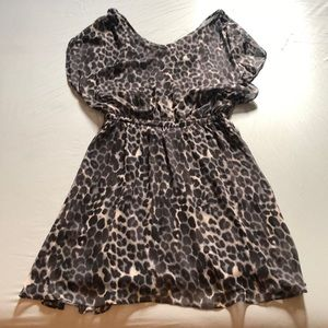 Gray and black leopard print dress